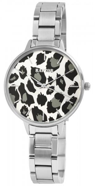 Raptor Damen-Uhr Edelstahl Armband Leo Print Animal Analog Quarz RA10186