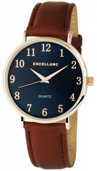 Excellanc Damen – Uhr Lederimitat Armbanduhr Dornschließe Analog Quarz 1900054
