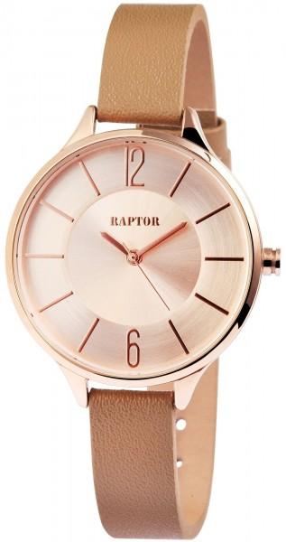 Raptor Damen-Uhr schmales Echtleder Armband Dornschließe Analog Quarz RA10015