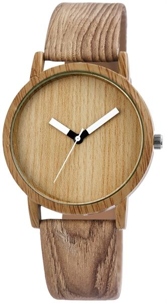 Excellanc Unisex – Uhr Lederimitations Armbanduhr Holzoptik Analog Quarz 2900075