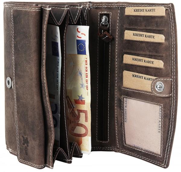 Akzent Damen - Geldbörse Echt Leder Portemonnaie 16 x 10 cm