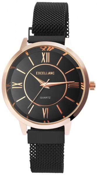 Excellanc Damen-Uhr Milanaisearmband Edelstahl Magnetverschluss Quarz Analog 1300032