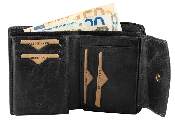 Raptor Damen-Geldbörse Echtleder Crunch Look 14x10cm Querformat RA40041