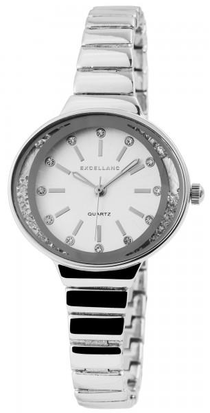Excellanc Damen-Uhr Metallarmband Clipverschluss Strass Analog Quarz 1800092