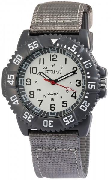 Excellanc Herren-Uhr Textilarmband Donschließe Rund Analog Quarz 1900124
