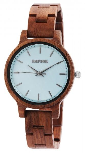 Raptor Damen-Uhr Holz Perlmutt Edelstahl Faltschließe Analog Quarz RA10187
