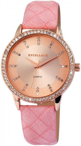 Excellanc Damen-Uhr Lederimitat Strass Dornschließe Analog Quarz 1900093