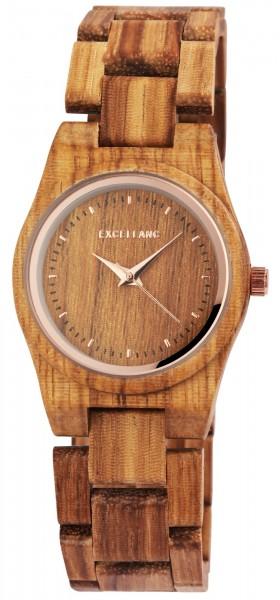 Excellanc Damen - Uhr Walnussholz Holzarmband Holzuhr Armbanduhr Faltschließe Quarz 1800193