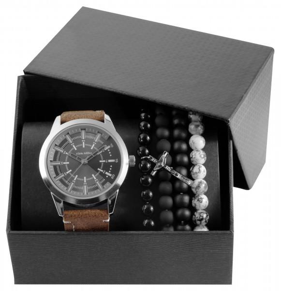 Alain Miller Geschenkset mit Herrenuhr Lederimitat Armband und Schmuckarmbändern 2900184