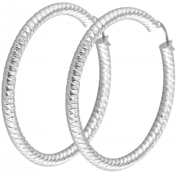 Akzent Edelstahl Creolen in Silber, Ø 60 mm, 004395000016