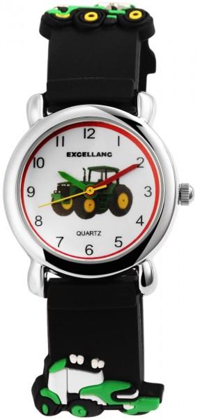 Excellanc Kinder–Uhr Silikonarmband Traktor Dornschließe Analog Quarz 4500028