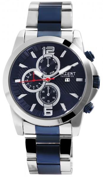 Akzent Exclusive Herren - Uhr Edelstahl Armbanduhr Datumsanzeige Analoganzeige Quarz 2800060