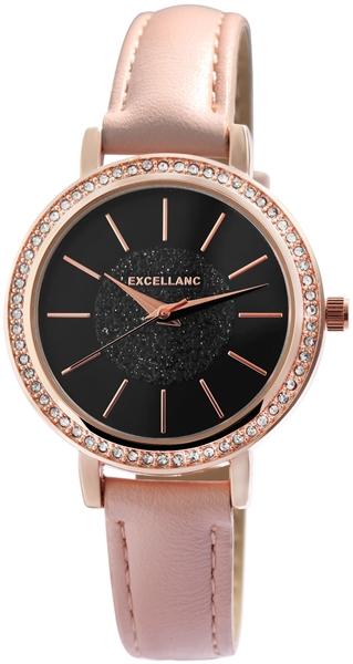 Excellanc Damen-Uhr Lederimitat Strass-Steine Dornschließe Analog Quarz 1900236
