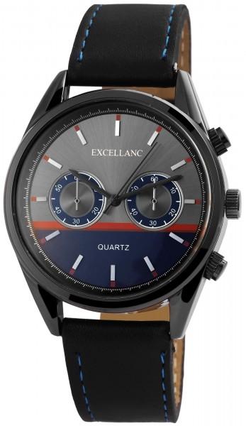 Excellanc Herren-Uhr Lederimitat Dornschließe Analog Quarz 2900056
