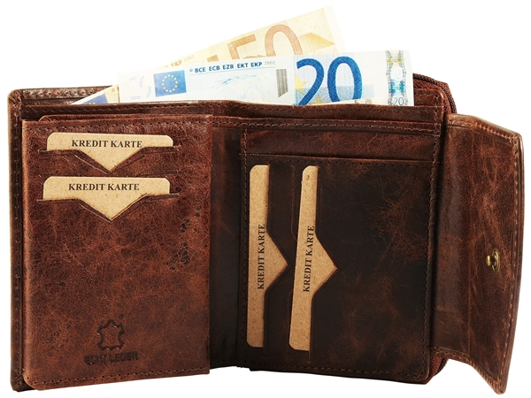 Raptor Damen Geldbörse aus Echtleder. Format 14 x 10 cm.
