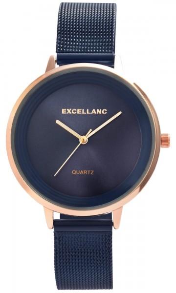 Excellanc Damen-Uhr Milanaisearmband Edelstahl Hakenverschluss Quarz Analog 1300031