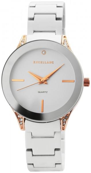 Excelland Damen-Uhr Metallarmband Clipverschluss Elegant Rund Analog Quarz 1800001