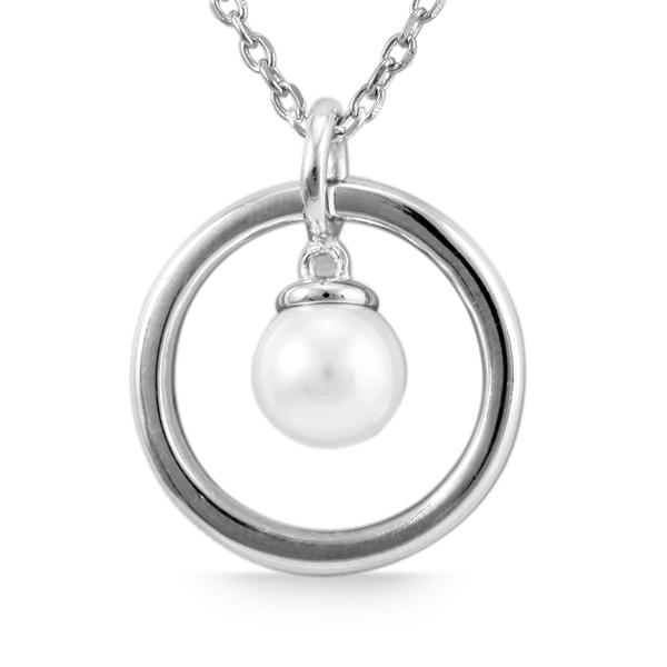 Giulia Luna Damen-Halskette Anhänger Perle Rund 925er Silber GL5210030