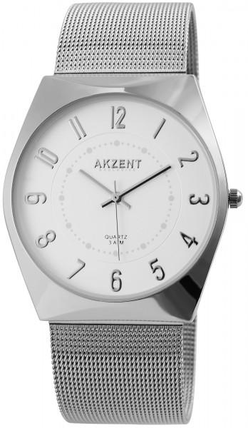 AKZENT Exclusive Herren-Uhr Meshband Edelstahl Analog Quarz 2300006
