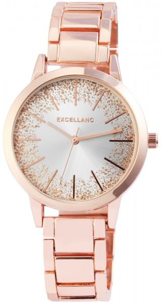 Excellanc Damen-Uhr Metallarmband Glitzer Elegant Analog Quarz 1800139