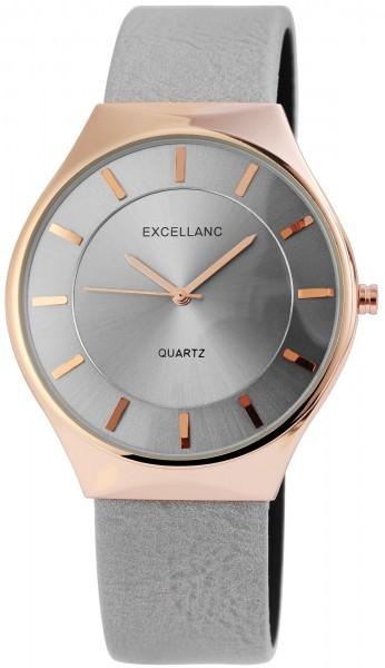 Excellanc Damen – Uhr Lederimitat Armbanduhr Dornschließe Analog Quarz 2910011