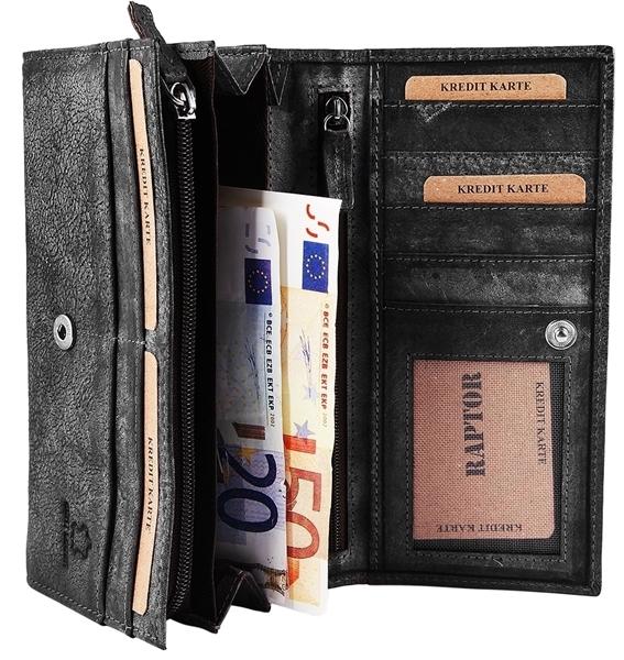 Raptor Damen - Geldbörse Echtleder Druckknopfverschluss 19x10cm RA40044