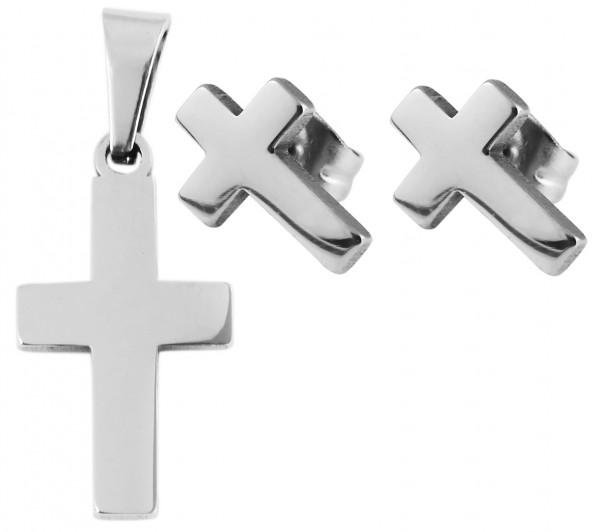 Akzent Damen - Schmuckset Ohringe und Anhänger aus Edelstahl Motiv Kreuz 5120065