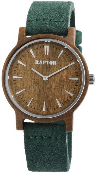 Raptor Damen-Uhr Echtlederband Holzoptik Dornschließe analog Quarz RA20203-003