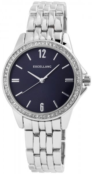 Excellanc Damen-Uhr Gliederarmband Metall Strass Faltschließe Analog Quarz 1800143