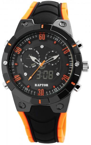 Raptor Herren-Uhr Silikon Datum Licht Wochentag Digital Analog Quarz RA20028