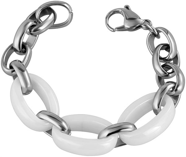 Akzent Keramik Armband in Weiß mit Karabiner, Länge: 19 cm - 003109500003