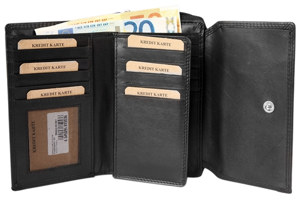 Akzent Damen - Geldbörse Echt Leder Portemonnaie RFID Querformat 15x10cm 3000246
