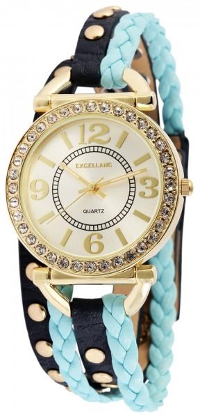 Excellanc Damen-Uhr Wickelarmband Druckknopf Strass Analog Quarz 1900179