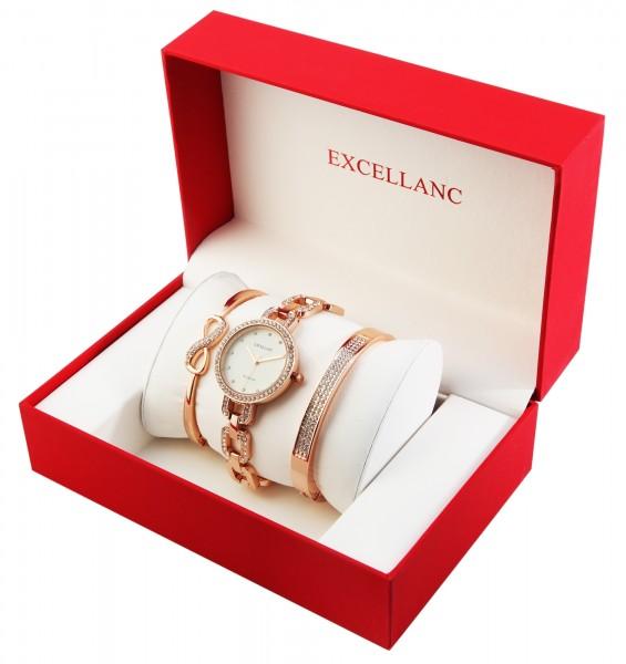 Excellanc Damen - Geschenkset mit Armbanduhr und zwei Armreifen 1800201