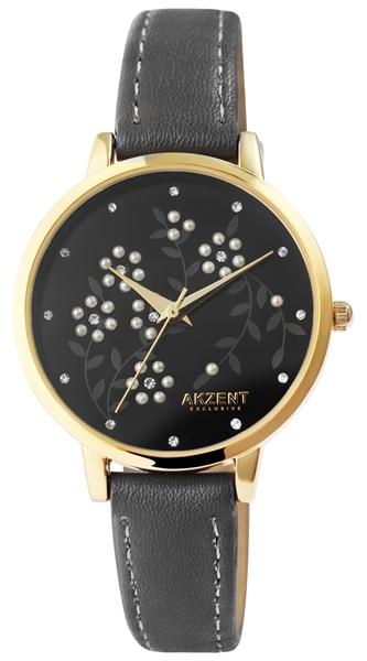 Akzent Exclusive Damen-Uhr Lederimtatarmband Blumen Muster Analog Quarz 1900249