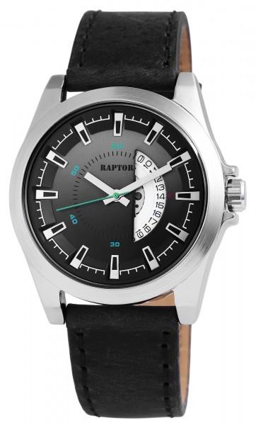 Raptor Herren - Uhr Oberseite Echtlederarmband Datumsanzeige Quarzwerk RA20110