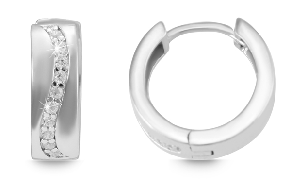Giulia Luna Damen – Ohrringe 925er Silber rhodiniert Creole Strass GL5200060