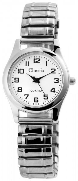 Classix Damen - Uhr Schwarz Silberfarbig Zugband Metall Armbanduhr 1700009