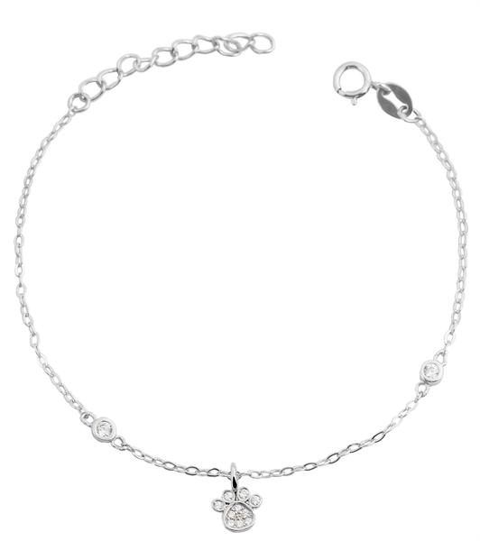 Giulia Luna - Armband 925er Silber Pfote Tierliebe 14+3 cm Armkettchen GL5240016