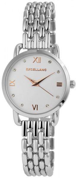 Excellanc Damen Uhr Gliederarmband Metall Strass Clipverschluss Analog Quarz 1800164