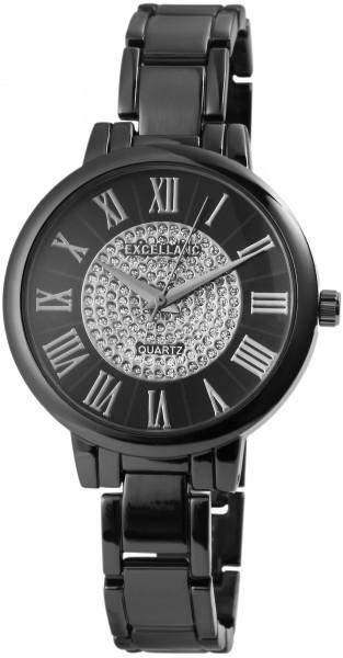 Excellanc Damen-Uhr Metallarmband Clipverschluss Strass Analog Quarz 1800087