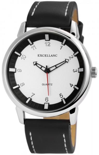Excellanc Herren-Uhr Lederimitat Dornschließe Analog Quarz 2900131