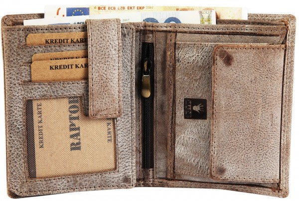 Raptor Herren Geldbörse aus Echtleder. Format 10 x 12 cm.