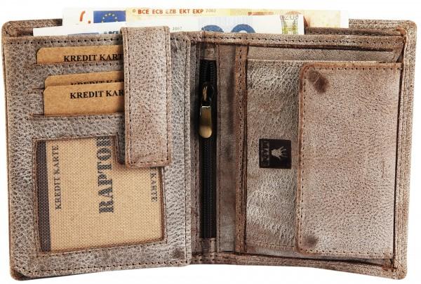 Raptor Herren-Geldbörse Echtleder Vintage Look Querformat 10x12cm RA40002