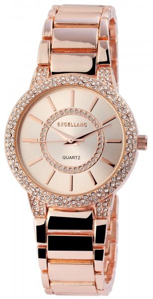 Excellanc Damen-Uhr Metallarmband Faltschließe Strass-Steine Analog Quarz 1800065