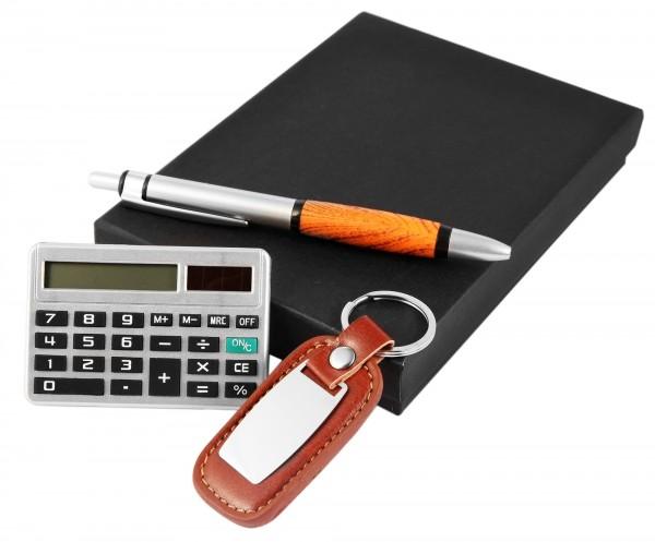 Geschenkset Kugelschreiber Taschenrechner Schlüsselanhänger 3710005