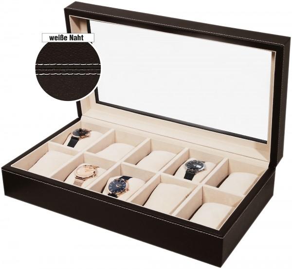 Uhrenkoffer , Lederimitation, braun, 10 Fächer
