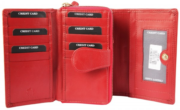 Leonardo Verrelli Damen-Geldbörse Echt Leder Format 15x9,5cm RFID Safe- 3000097
