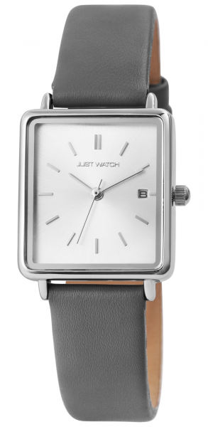 Just Watch Damen-Uhr Echt Leder Armband Eckig Datum Analog Quarz JW10140