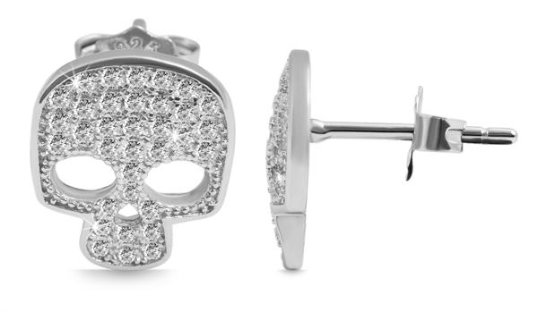 Giulia Luna-Ohrstecker 925er Sterling Silber Skull Totenkopf Strass GL5200086